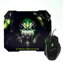 Wired Gaming Mouse Keywin 7D with 7 Buttons, 3200 DPI and Mousepad Black - Green