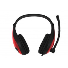 Headphone Stereo KOMC PC Series KM-520 with Microphone and Double Connector 3.5 mm Black-Red for Mobile Phones, Tablet and Electronic Devices
