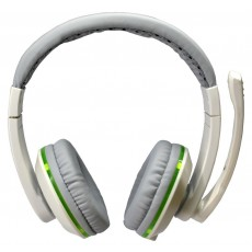 Headphone Stereo KOMC LED G11 with Microphone. Connection via USB and Double Connector 3.5 mm. White