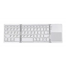 Bluetooth Mini Keyboard Mobilis B033 Foldable with Touchpad, suitable for Smartphone, Tablet, PC and SmartTV Silver - White