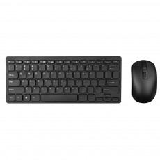 Wireless Mini Keyboard Mobilis with Wireless Mouse of 3 Buttons Black