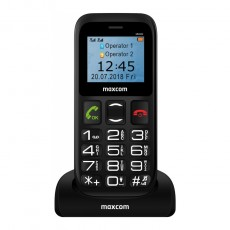 "Maxcom MM426 (Dual Sim) 1.77"" with Large Buttons, FM Radio, Torch and Emergency Button Black"