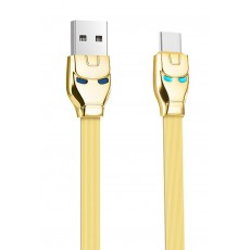Data Cable Hoco U14 Steel Man USB to Type-C Gold 1.2 m. with indicator light