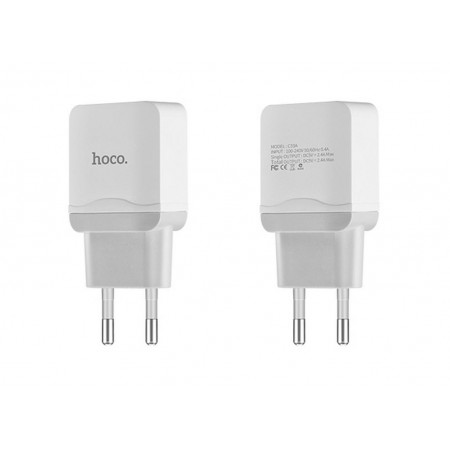 Travel Charger Hoco C33A Superior Dual USB Fast Charging 5V 2.4A White