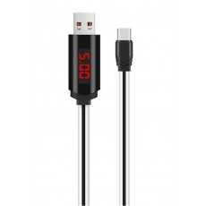 Data Cable Hoco U29 LED Display USB to Type-C 2A White Fast Charging 1m.