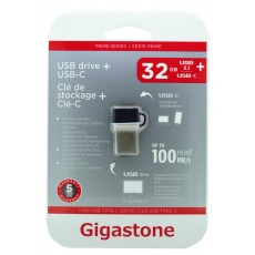Gigastone Prime Series USB 3.0 Flash Drive and Type-C 32GB OTG for Smartphones & Tablet UC-5400B Refurbished 5 Years Guarantee