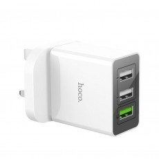 Travel Charger Hoco C48 Breakthrough Triple USB Fast Charging QC3.0 30W White for UK plug