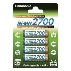 Rechargeable Battery Panasonic Ni-MH 2700 BK-3HGAE/4BE 2500 mAh size AAA 1.2V Pcs 4