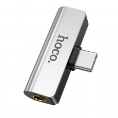 Adaptor Hoco LS26 2-in-1 USB-C to USB-C and 3.5mm 1.5A Silver