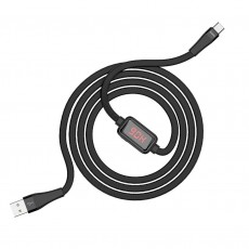 Data Cable Hoco S4 USB to USB-C 3.0A Black 1.2m with charging indicator