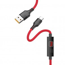 Data Cable Hoco S13 Central USB to USB-C 2.4A Red 1.2m with charging display