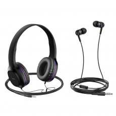 Headphone Stereo Hoco W24 Enlighten Purple with Microphone and extra Earphones 3.5mm