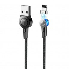 Data Cable Hoco S8 Magnetic USB to Lightning 2.4A with Magnetic Detachable Plug Black 1.2m and charging LED indicator