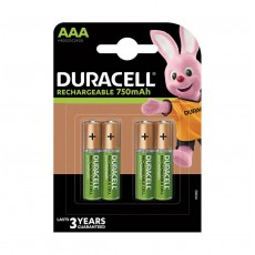 Rechargeable Battery Duracell 750 mAh size AAA HR03/DC2400 1.2V  Τεμ. 4