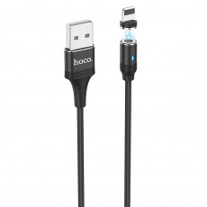 Data Cable Hoco U76 Fresh USB to Lightning 2.4A with Magnetic Detachable Plug and LED Light Black 1.2m