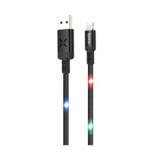 Data Cable Hoco U63 Spirit USB to Lightning and Light Indicators with Voice Sensor 2.4A Black 1.2m