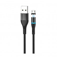 Data Cable Borofone BU16 Skill USB to Micro-USB with Magnetic Detachable Plug Metal Black 1m