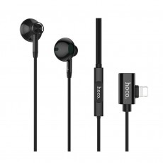 Hands Free Hoco L11 Jasmin Lightning Black without Micrphone, Operation Control Button and Charging Port 2A