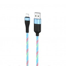 Data Cable Hoco U85 Charming night USB to Lightning 2.4A Blue Streamer 1m.