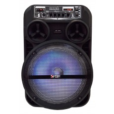 "Portable Speaker Trolley QS-803 DC5V 12"" Black 20W with Micro SD, USB, 3.5mm Ports, Wireless connection V5.0 and FM Radio with Karaoke Microphone"