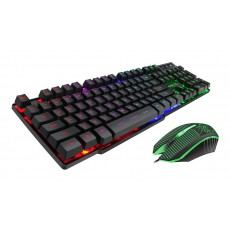 Wired Keyboard and Mouse iMICE KM-680 USB with LED Backlight, Multimedia Keys and Gaming. Black