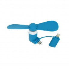 USB Mini Fan Ancus Blue with extra Lightning Connector