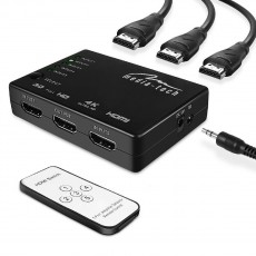 HDMI Switch Media-Tech MT5207 of 5 ports with 4K support and Remote Control. Black