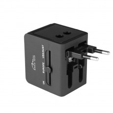 World Adapter and Charger Media-Tech MT6208 with 3 Plugs (EU, USA, UK) and 2 USB Ports 2.1A with LED Indicator Black