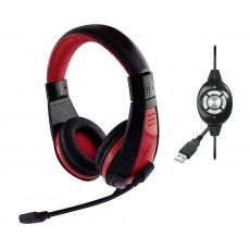 Stereo Headphone Media-Tech MT3574 NEMESIS 3.5mm with Microphone and Control Buttons Black-Red