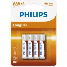 Battery Zinc Carbon Philips LongLife LR03 size AAA 1.5 V Psc, 4