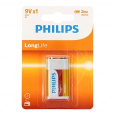Battery Zinc Carbon Philips LongLife 6LR61 size 9V Psc. 1