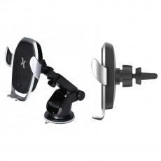 Car Mount and In-Air Outlet Maxcom MA Prestige Black - Silver with Fast Wireless Charger 15W and Touch Button