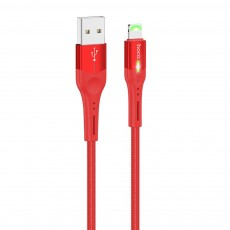 Data Cable Hoco S24 Celestial USB  to Lightning 2.4A with LED Indicator Red 1.2m