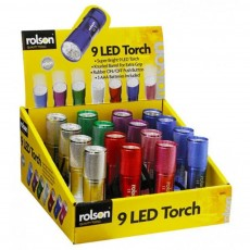 Set of Torches Rolson 9 LED Aluminum Lens with 3 AAA Batteries and 16 Piece Stand