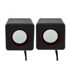 Multimedia Speaker Stereo Leerfei D-02L with 3.5mm jack and USB Charge, Black Red