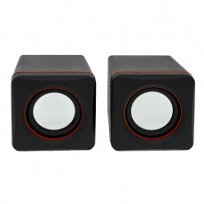 Multimedia Speaker Stereo Leerfei D-02A with 3.5mm jack and USB Charge, 5W Black Red