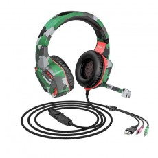 Stereo Gaming Headphone Hoco 3.5mm with Microphone, Volume Control, LED Light and Triple Plug Camouflage