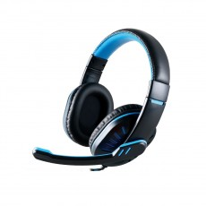 Stereo Headphone Noozy GH-35 of double 3.5mm connector for Gamers with Microphone and Volume Control Black-Blue